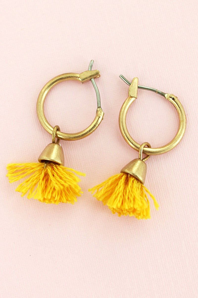 SALE! Crave Yellow Tassel Hoop Petite Earrings