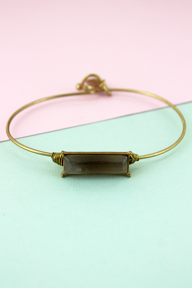 Worn Goldtone and Gray Agate Gemstone Bar Bangle