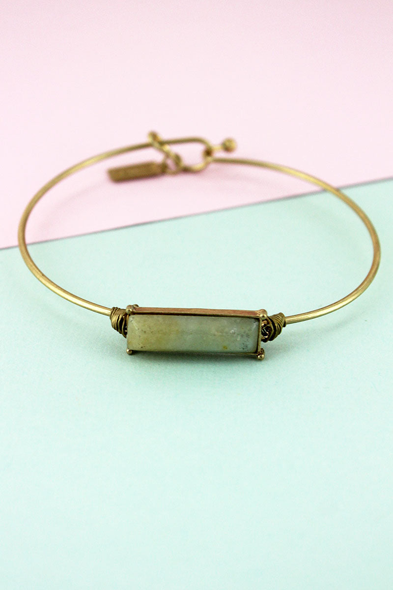 Worn Goldtone and Amazonite Gemstone Bar Bangle