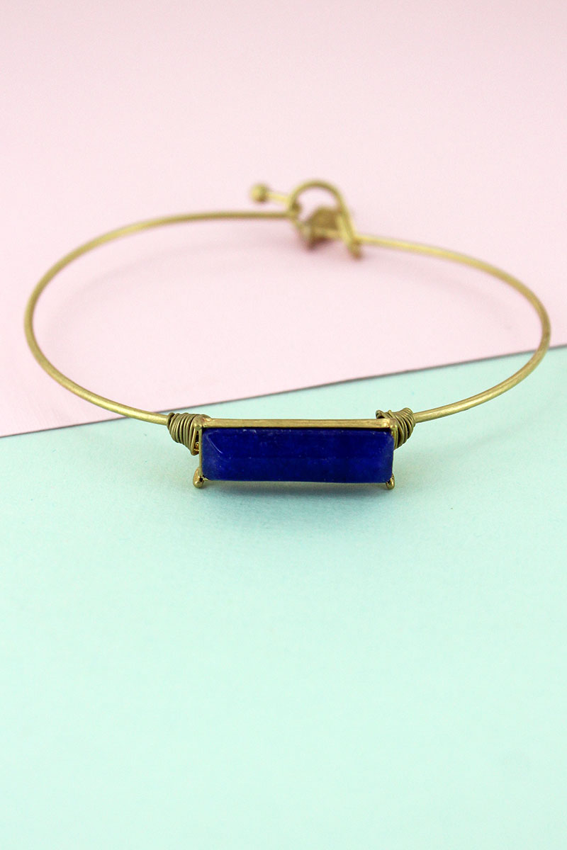 Worn Goldtone and Navy Jade Gemstone Bar Bangle