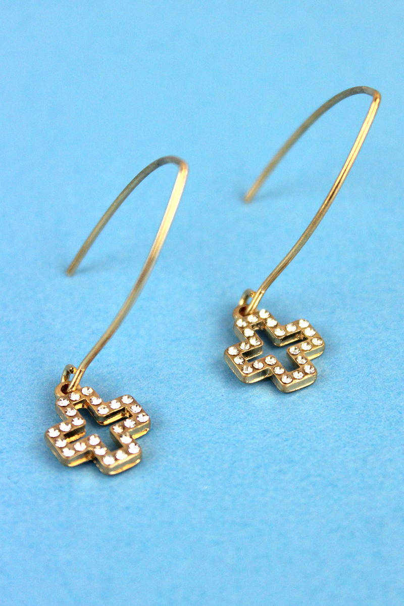 Crave Goldtone Crystal Square Cross Threader Earrings