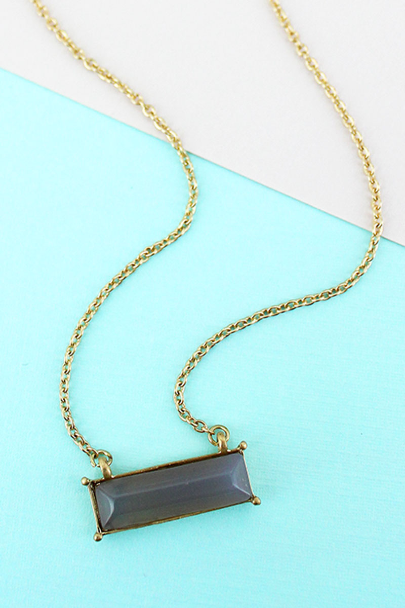 Worn Goldtone and Gray Agate Gemstone Bar Necklace