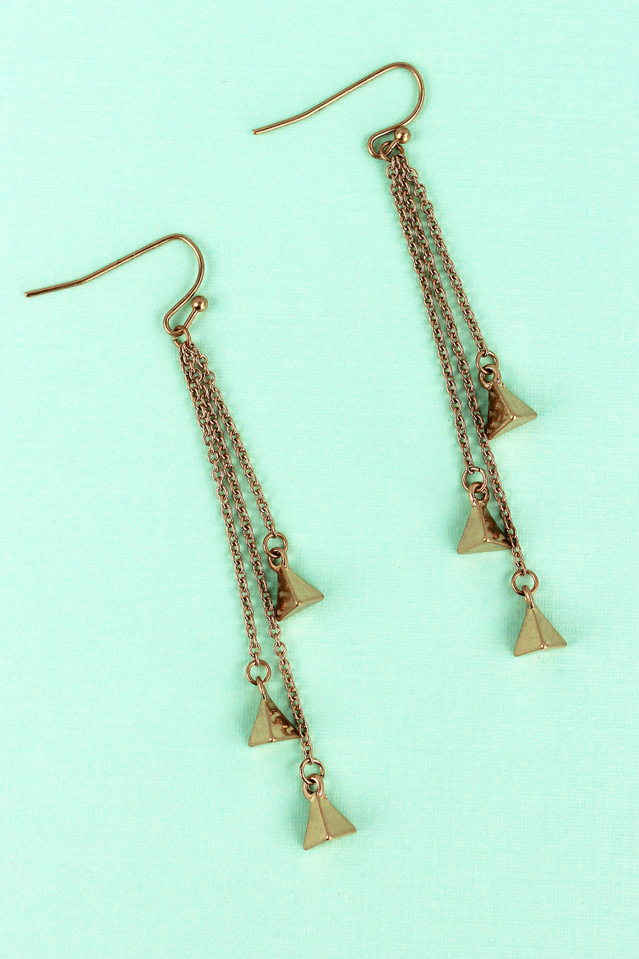 Crave Goldtone Triple Triangle Chain Drop Earrings