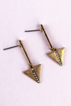 Crave Goldtone Bar and Crystal Stripe Triangle Drop Earrings