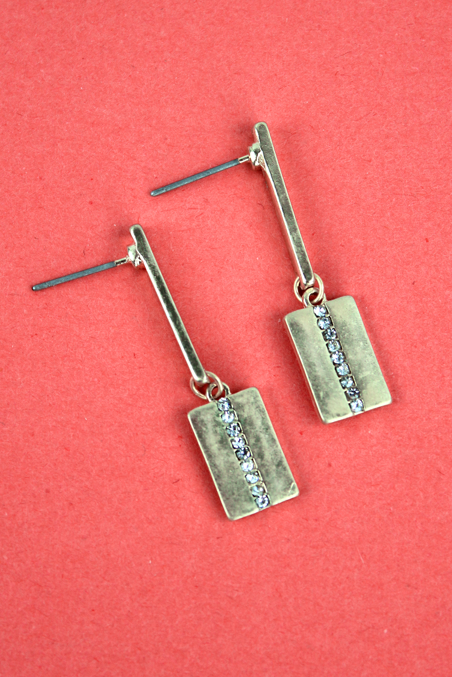 Crave Goldtone Bar and Crystal Stripe Rectangle Drop Earrings