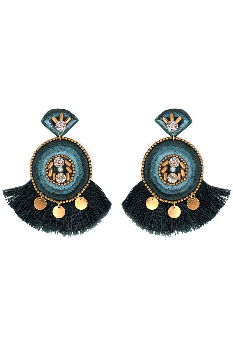 Embellished Green Embroidered Circle Fan Tassel Earrings