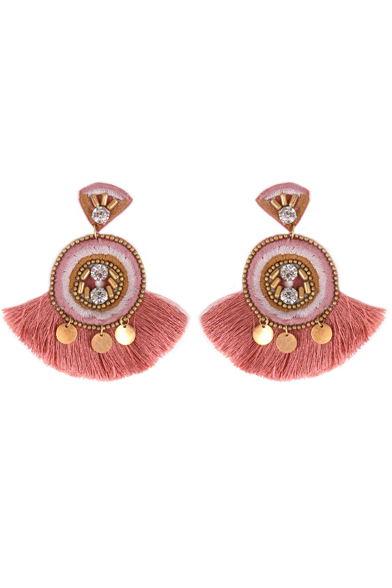 Embellished Rose Embroidered Circle Fan Tassel Earrings