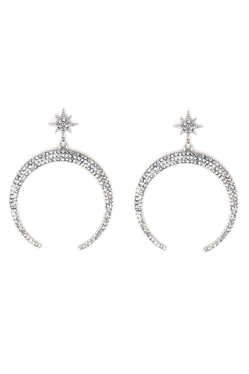 Rhodium Crystal Pave Crescent Moon Earrings