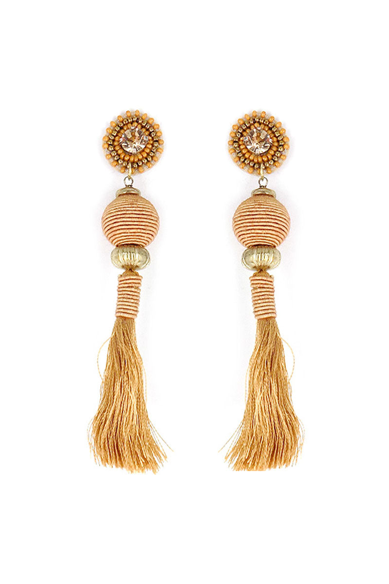 Brown Embellished Lantern Tassel Drop Earrings