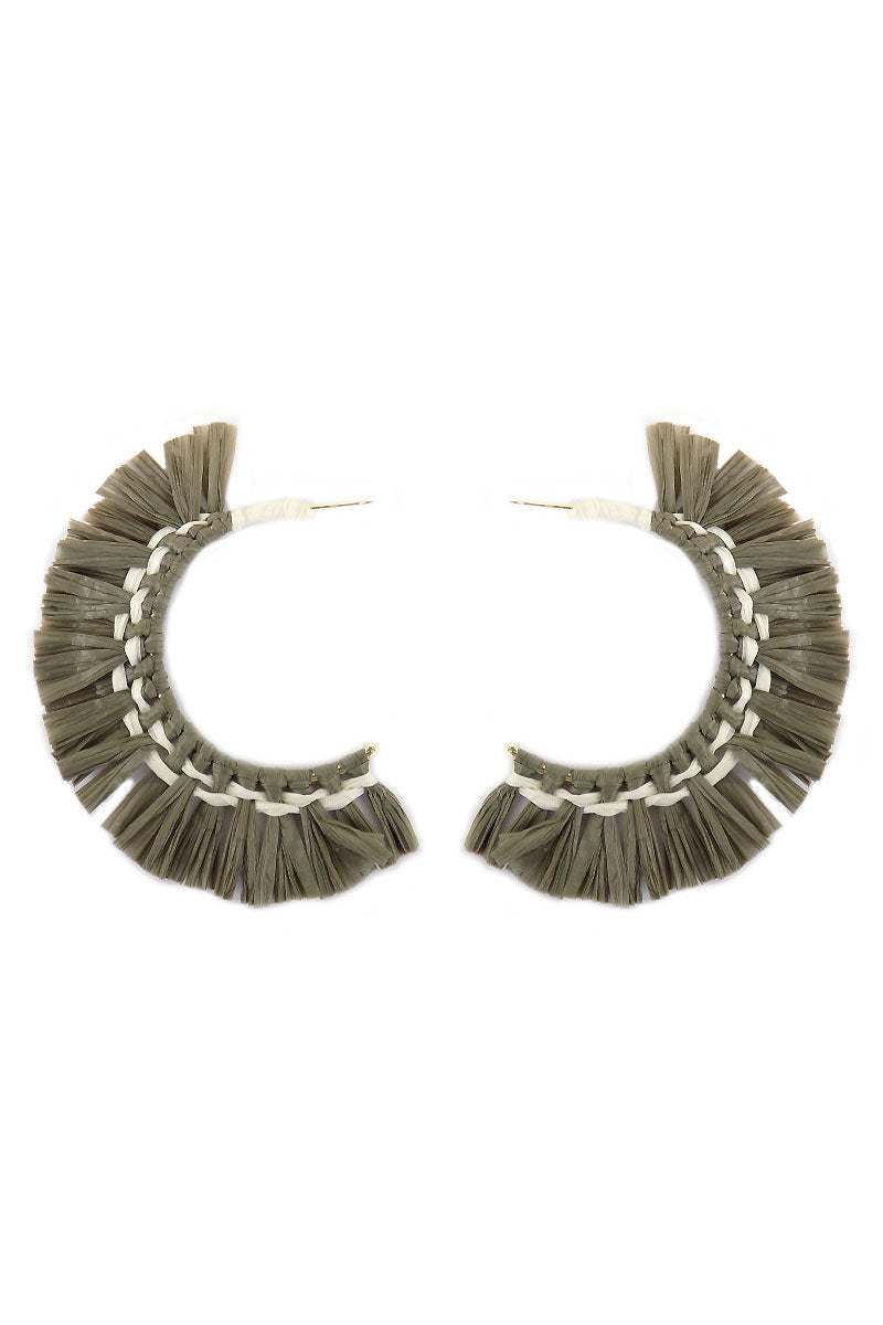 Gray Raffia Hoop Earrings