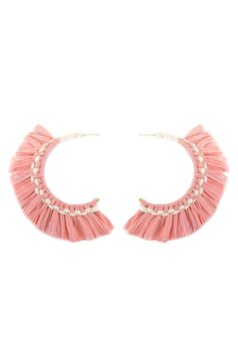 Pink Raffia Hoop Earrings