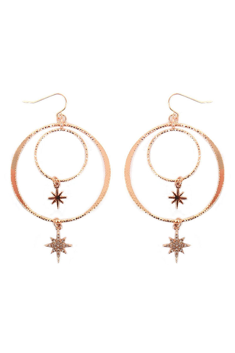 Crystal Rose Goldtone North Star Double Hoop Earrings