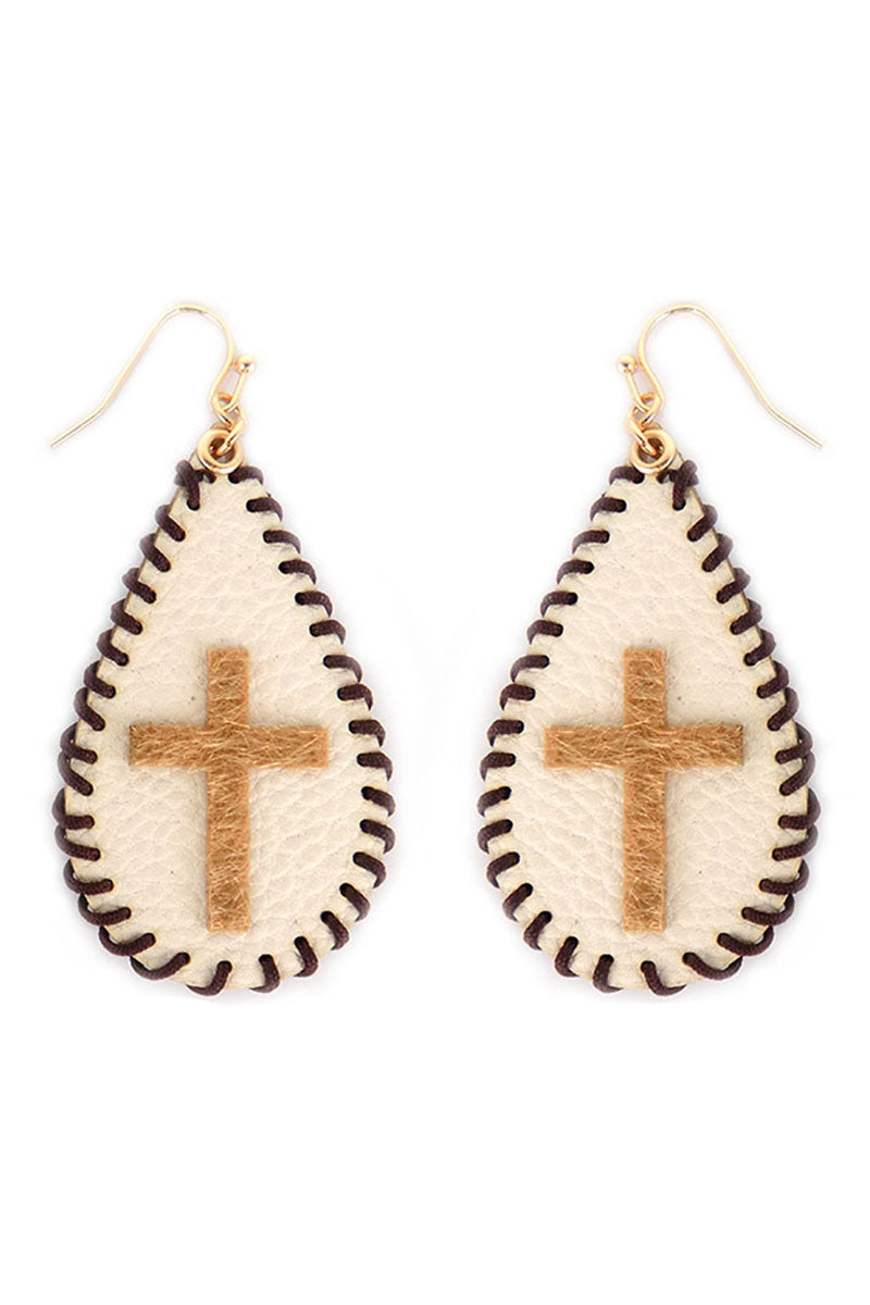 Whipstitch Ivory Teardrop Leopard Cross Earrings