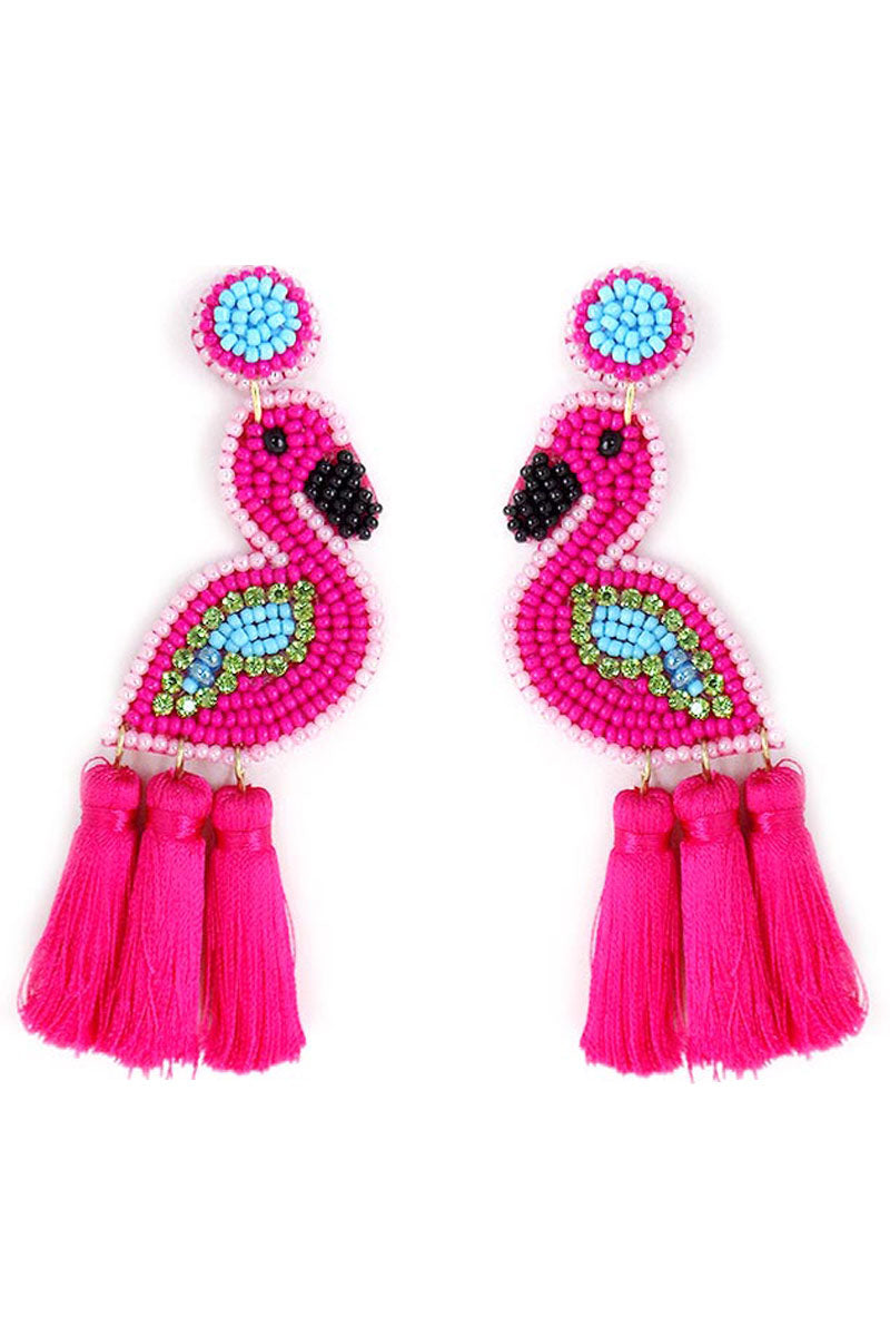 Flamingo Seed Bead Triple Tassel Earrings