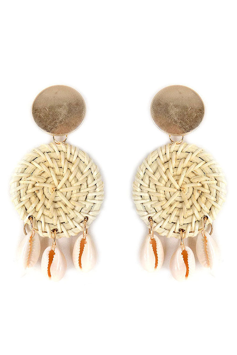 Goldtone and Rattan Disk Cowrie Shell Charm Earrings