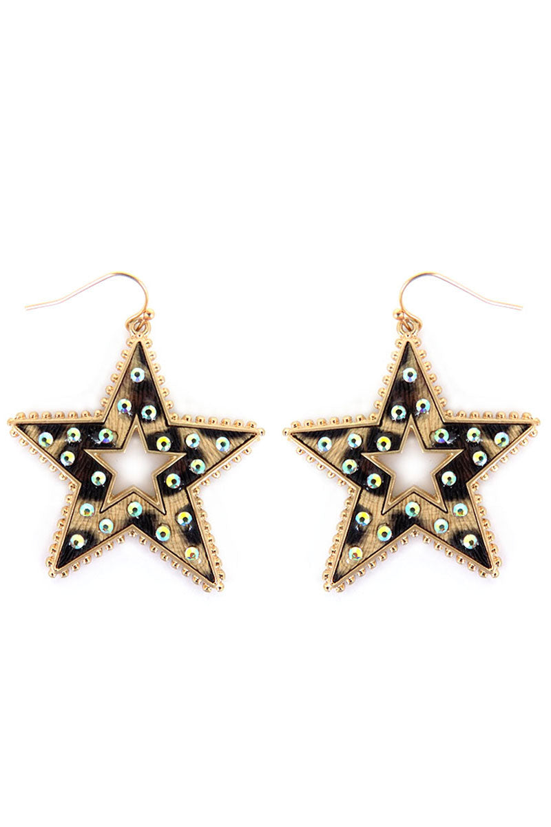 Crystal Trimmed Leopard Star Earrings