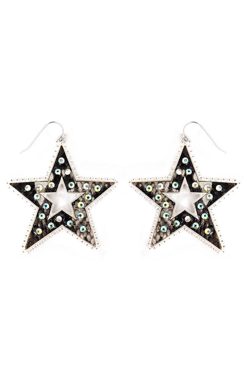 Crystal Trimmed Snakeskin Star Earrings