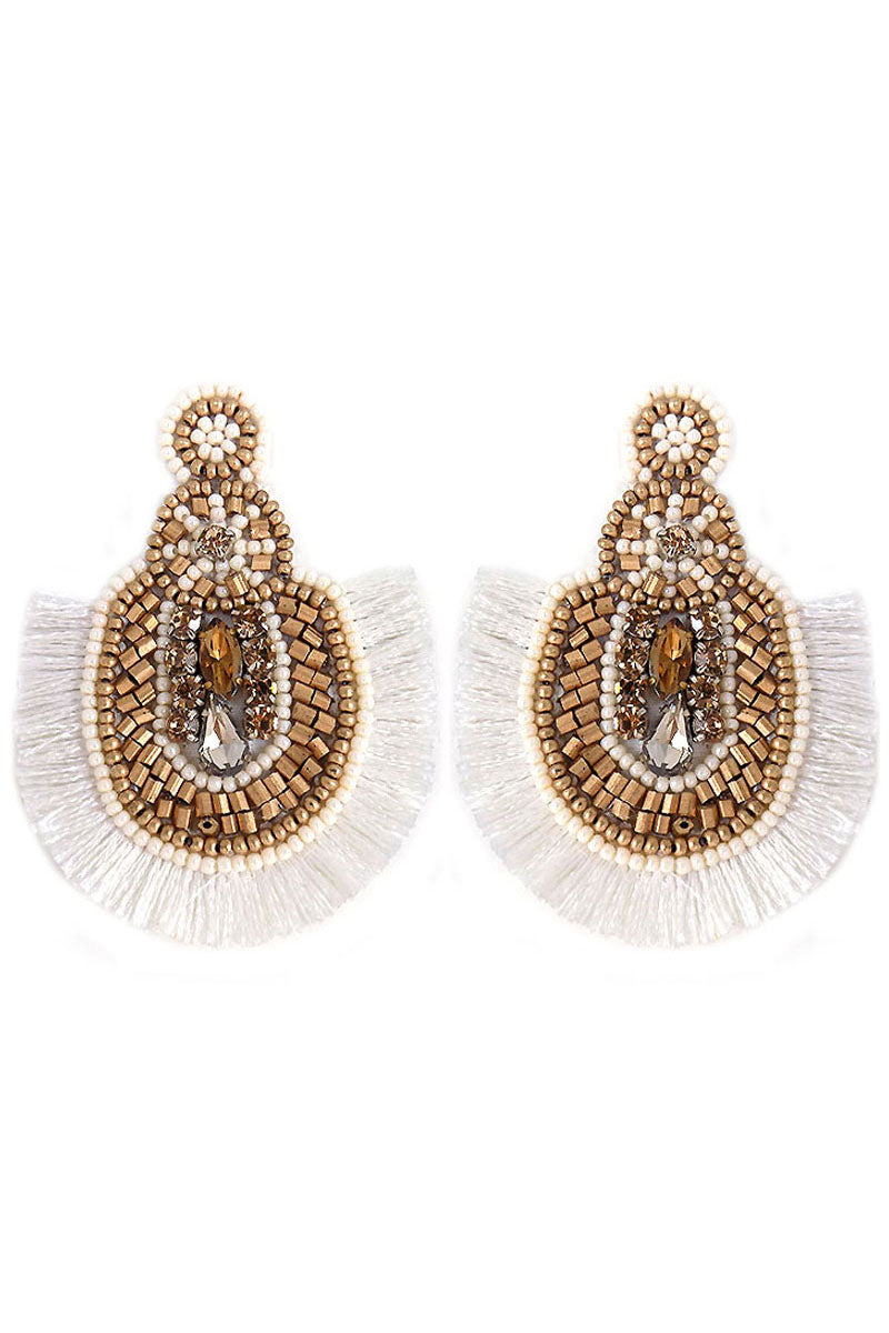 Gold and White Beaded Crystal Fan Tassel Earrings