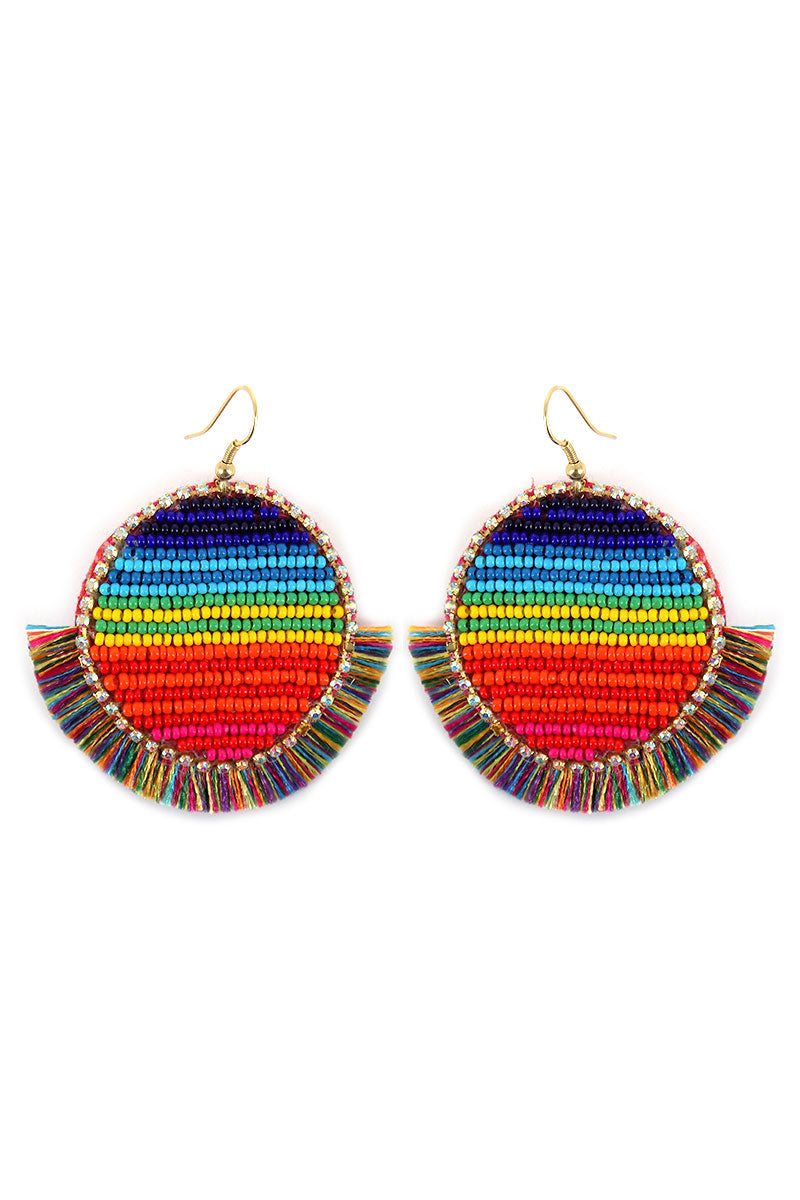 Rainbow Seed Bead Disk Thread Fringe Earrings