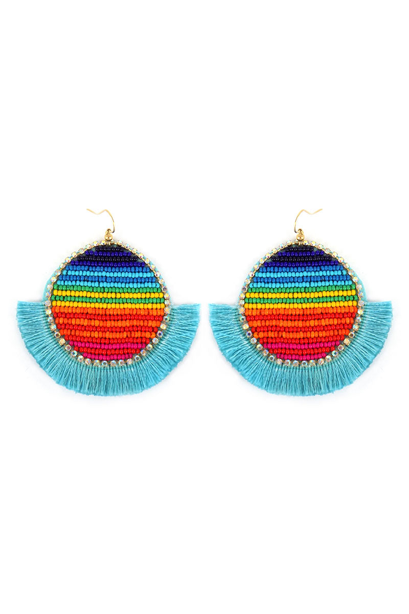 Rainbow Seed Bead Disk Turquoise Thread Fringe Earrings