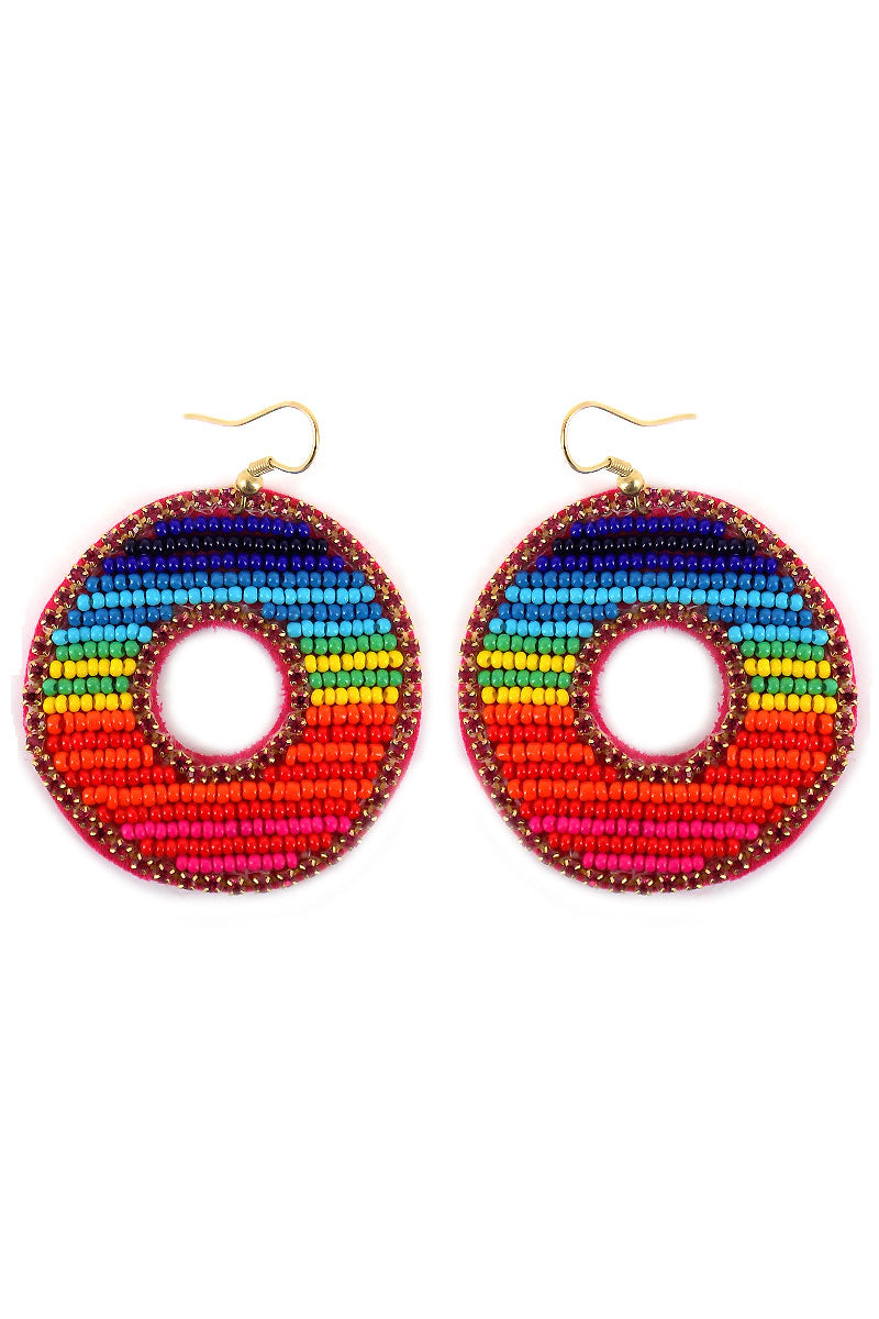 Rainbow Seed Bead and Crystal Circle Earrings