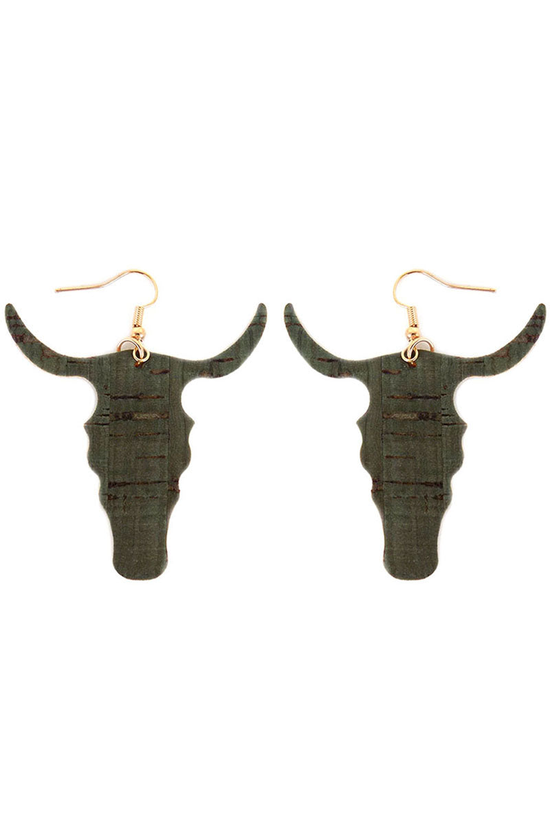 Green Cork Steer Head Earrings