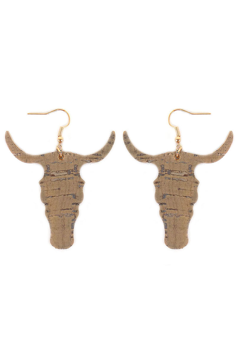 Cork Steer Head Earrings