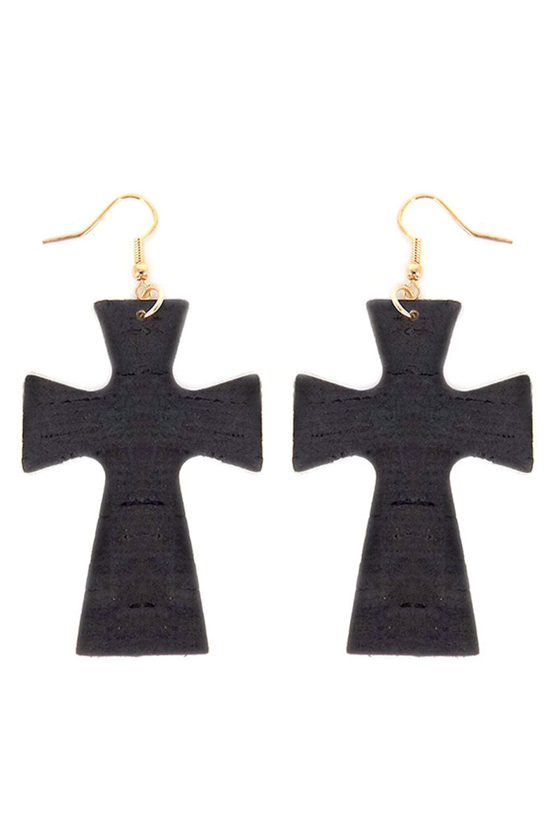 Black Cork Cross Earrings