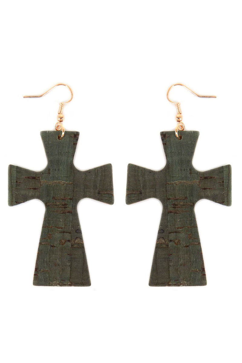 Green Cork Cross Earrings