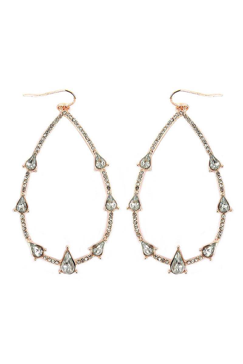 Crystal Pave Rose Goldtone Teardrop Earrings