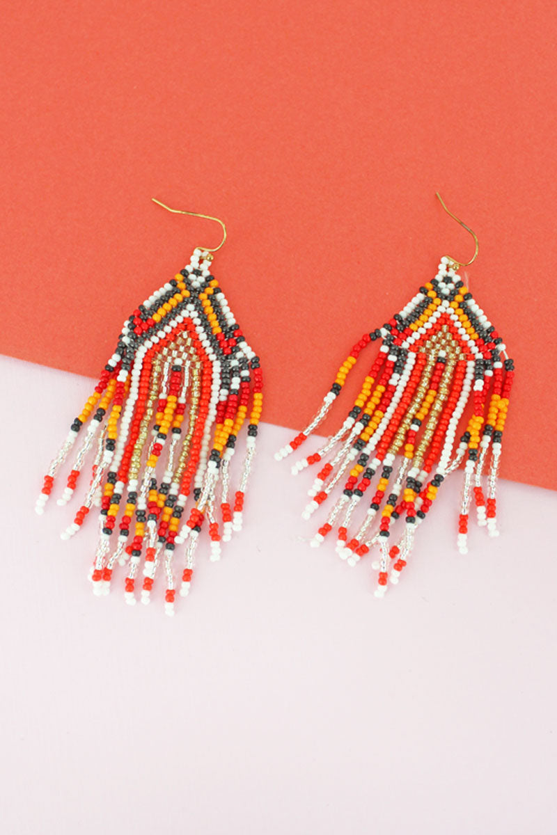 Canyon Spice Seed Bead Fringe Earrings