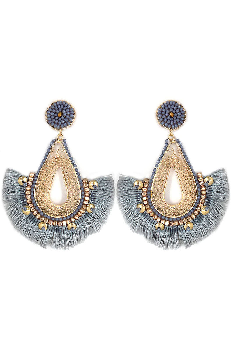 Gray Beaded Goldtone Filigree Fringe Teardrop Earrings