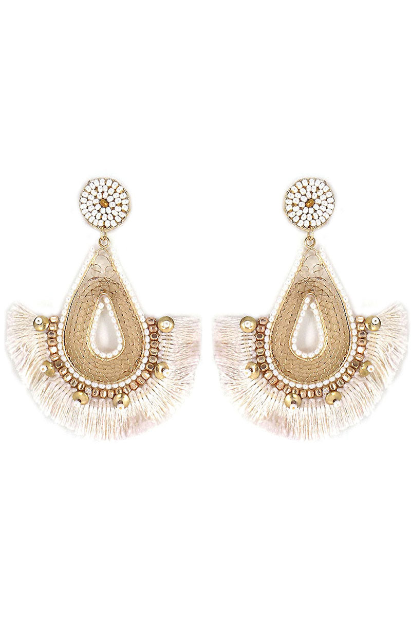 Ivory Beaded Goldtone Filigree Fringe Teardrop Earrings