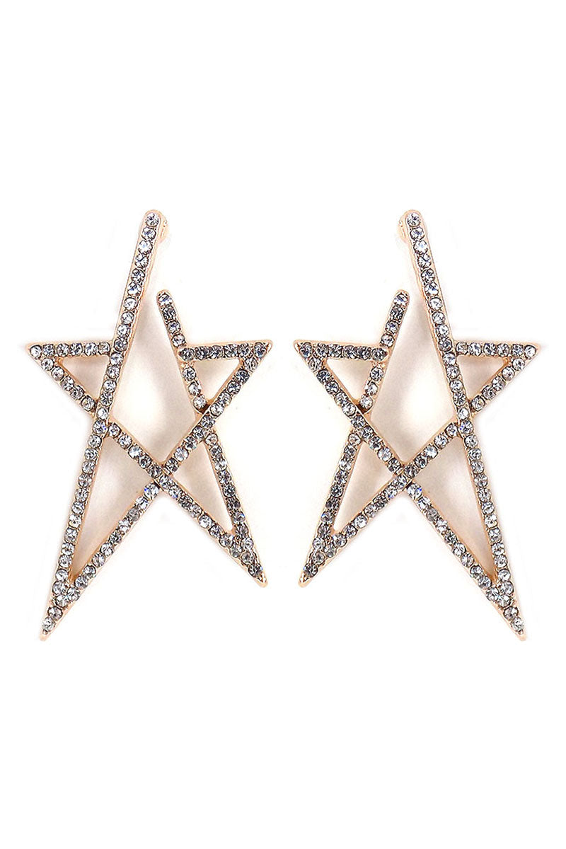 Crystal Pave Goldtone Star Post Earrings