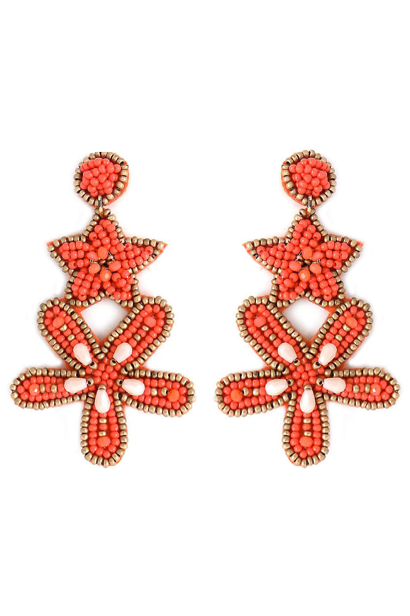 Coral Seed Bead Tiered Starfish Earrings