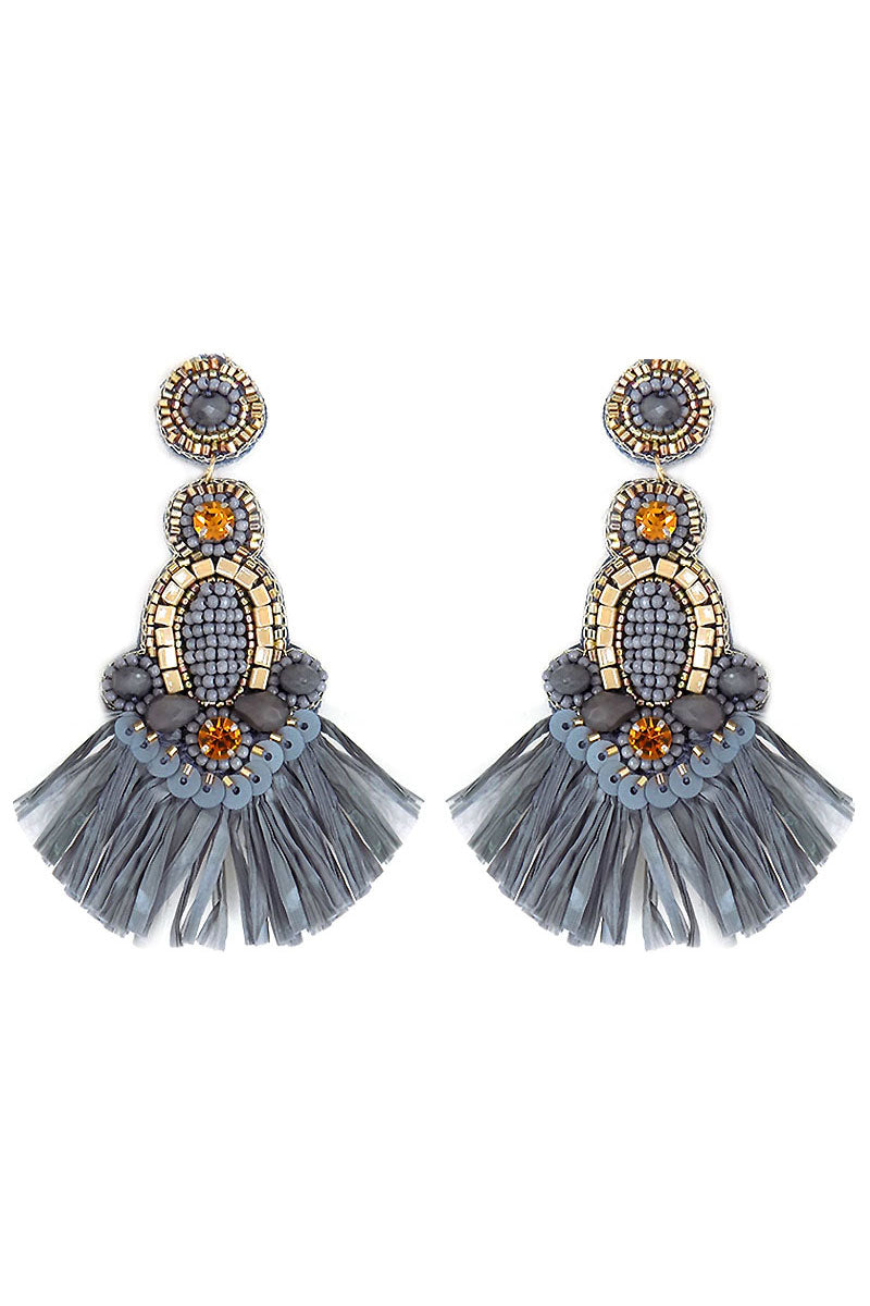 Gray Embellished Raffia Fan Tassel Earrings