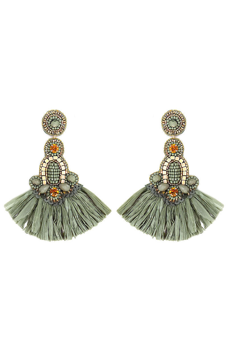 Sage Embellished Raffia Fan Tassel Earrings