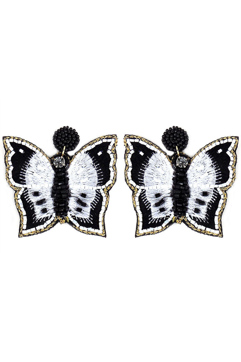 Black and White Seed Bead Embroidered Butterfly Earrings