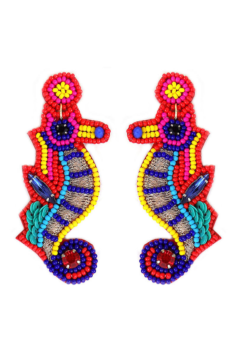 Multi-Color Embellished Seed Bead Seahorse Earrings