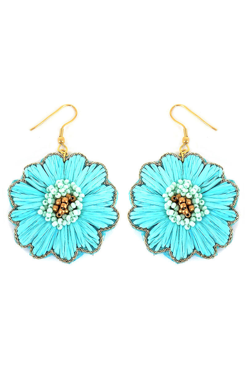 Aqua Raffia and Seed Bead Flower Earrings