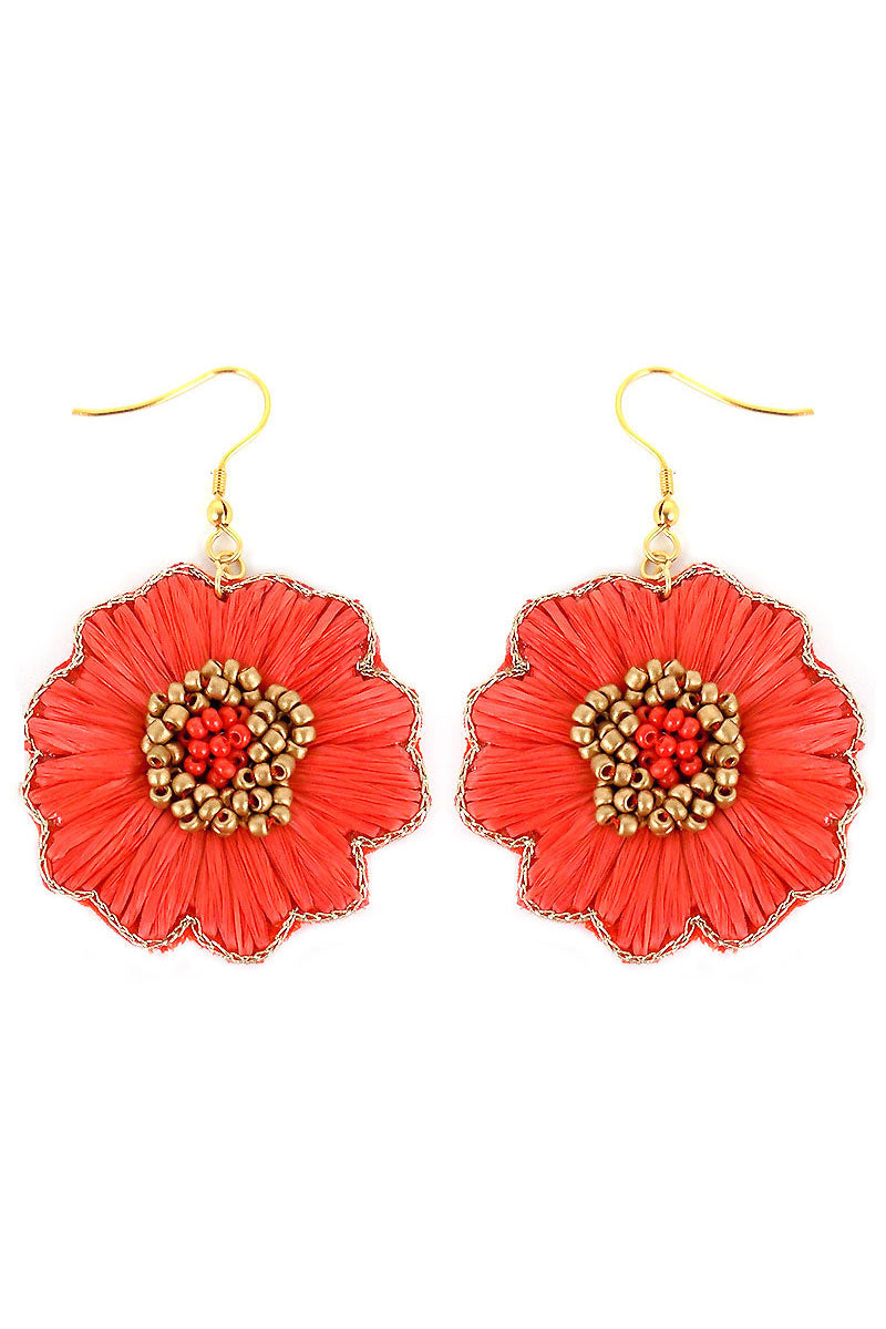 Coral Raffia and Seed Bead Flower Earrings