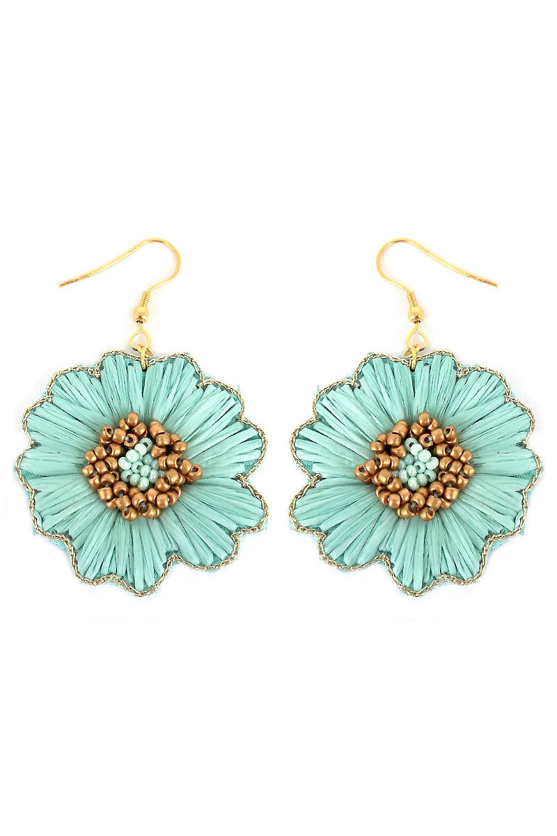 Mint Raffia and Seed Bead Flower Earrings