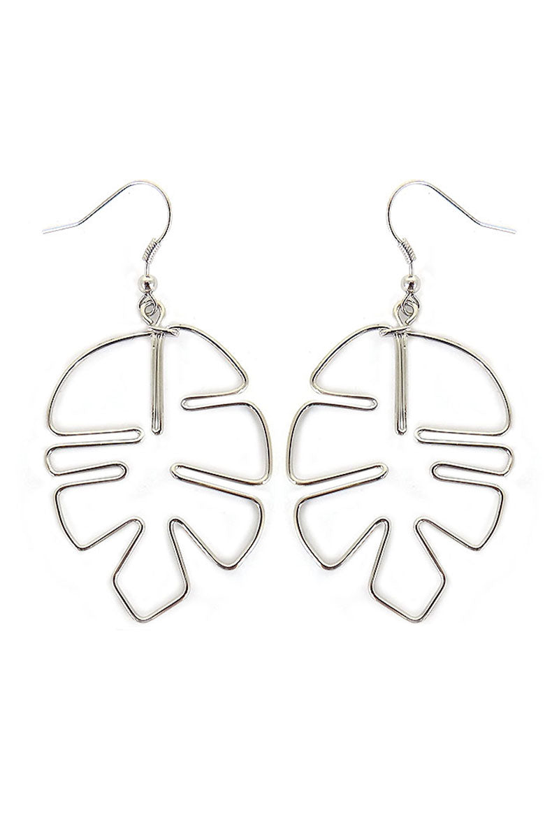 Silvertone Wire Palm Leaf Earrings