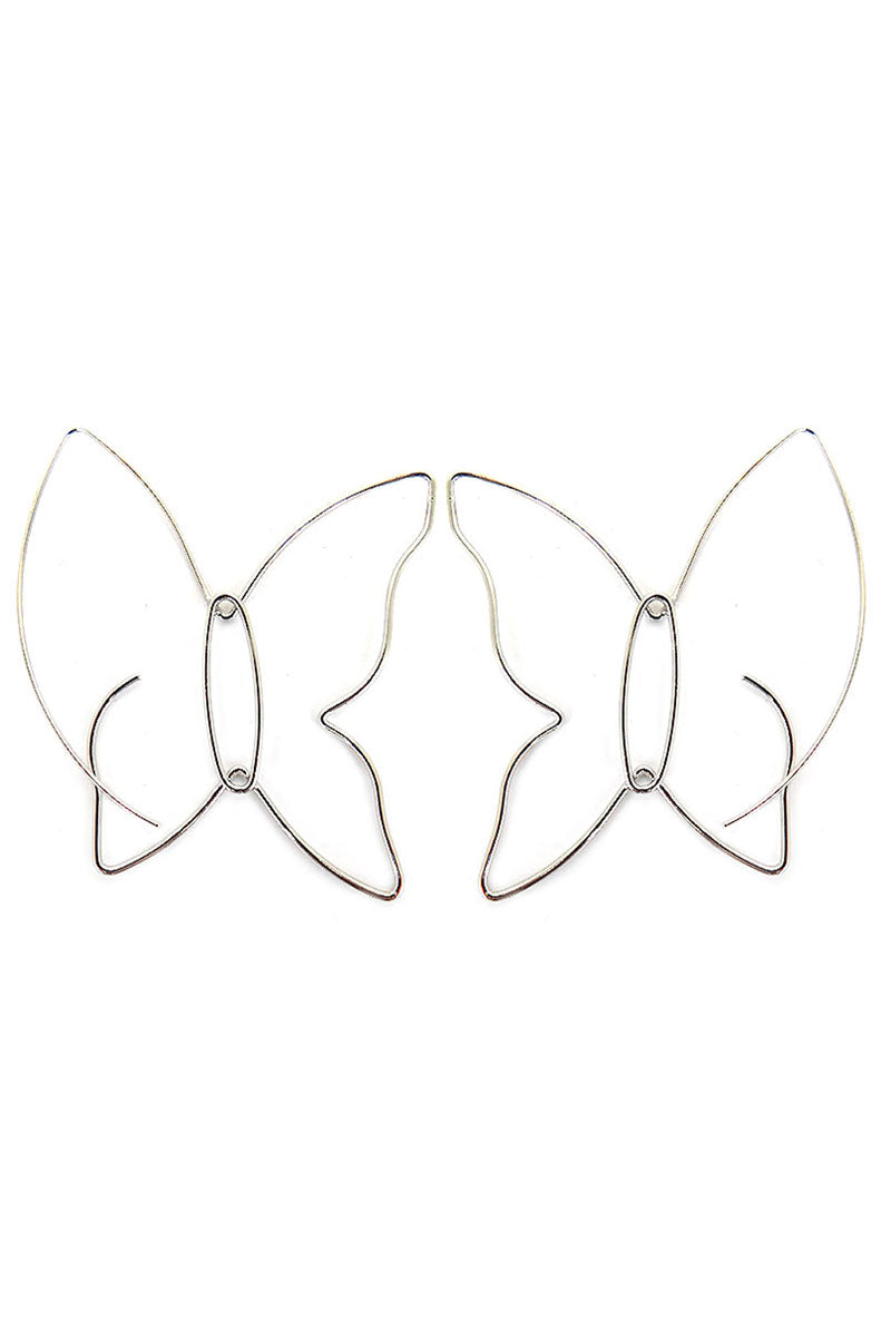 Silvertone Wire Butterfly Threader Earrings