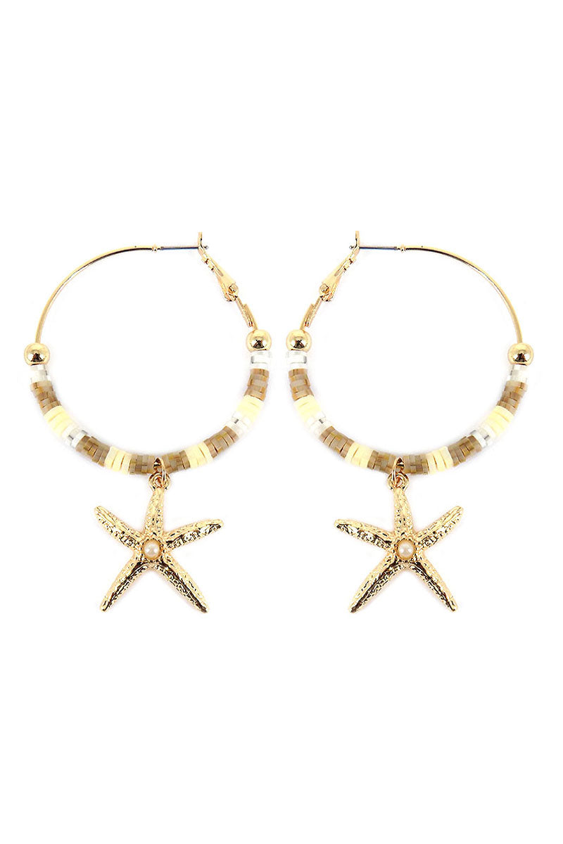 Ivory Ombre Vinyl Disk with Starfish Charm Hoop Earrings