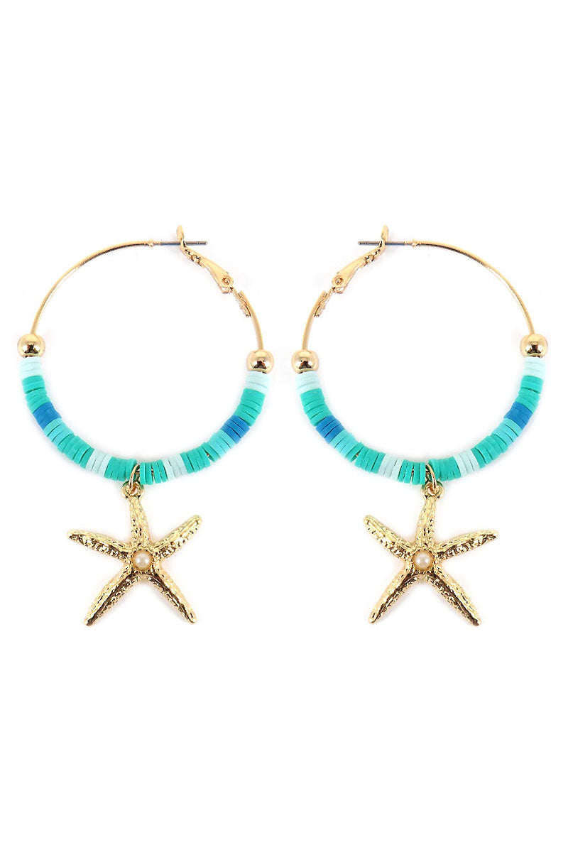 Turquoise Ombre Vinyl Disk with Starfish Charm Hoop Earrings