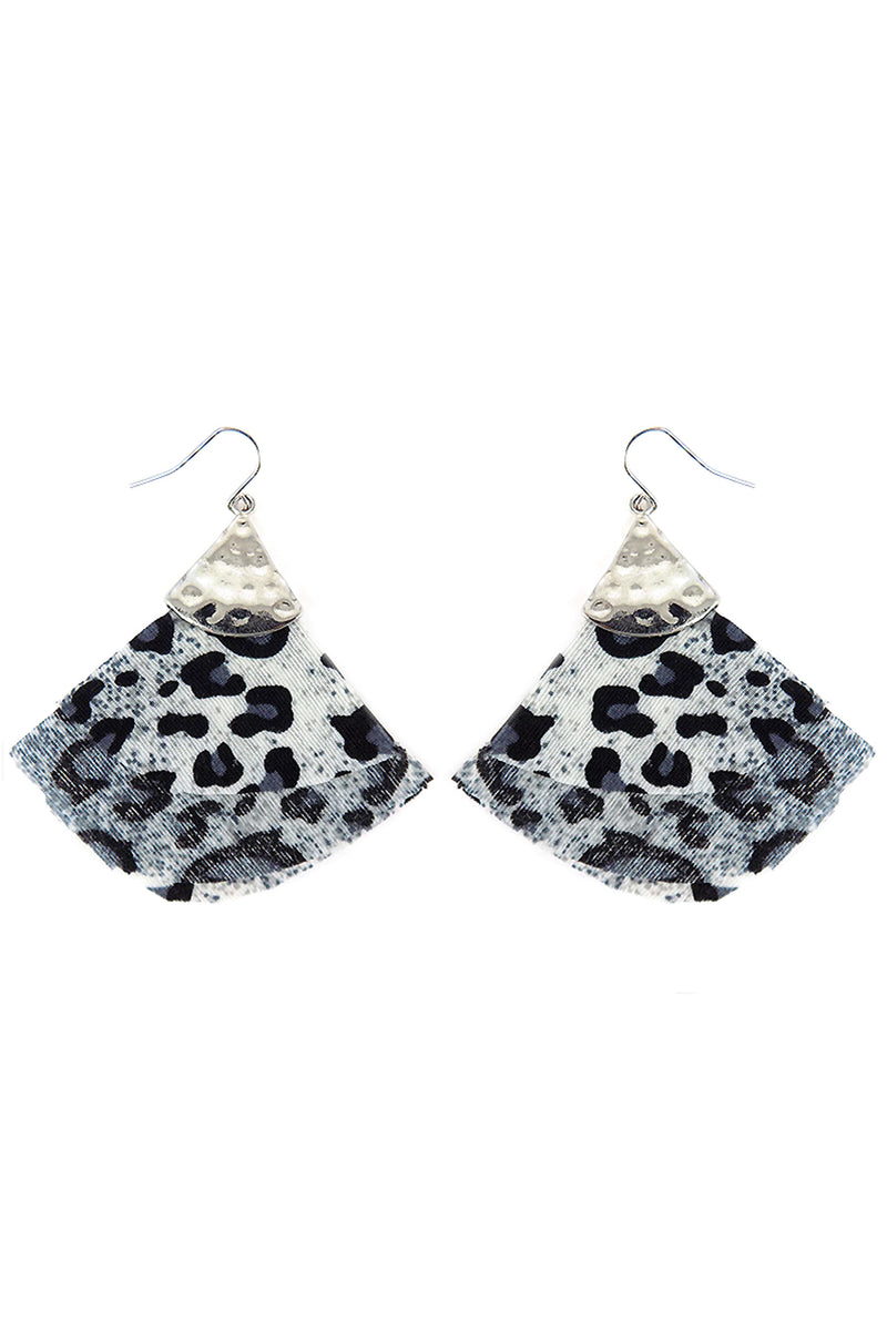 Silvertone and Gray Leopard Fabric Fan Earrings
