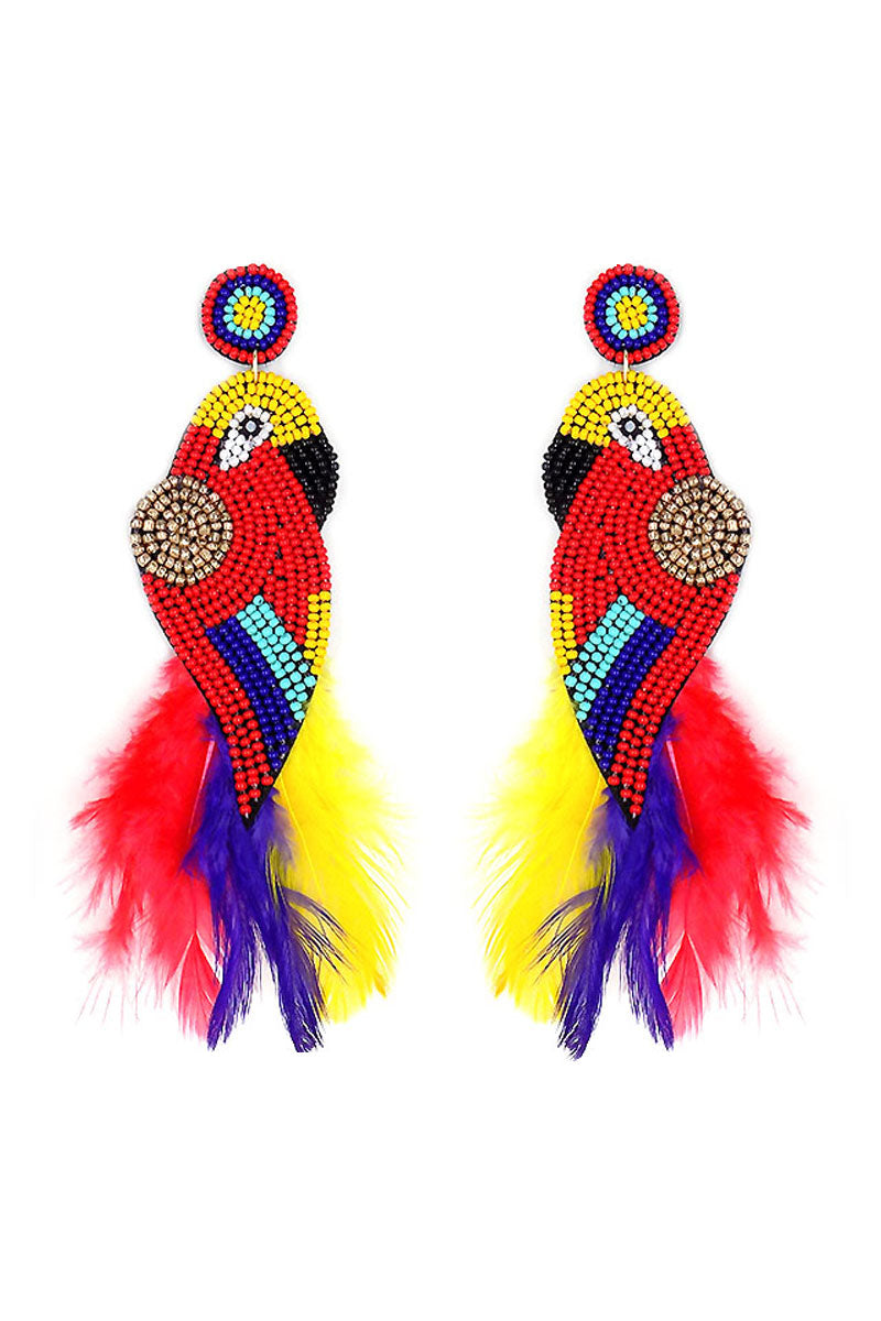 Scarlet Macaw Seed Bead Feather Earrings