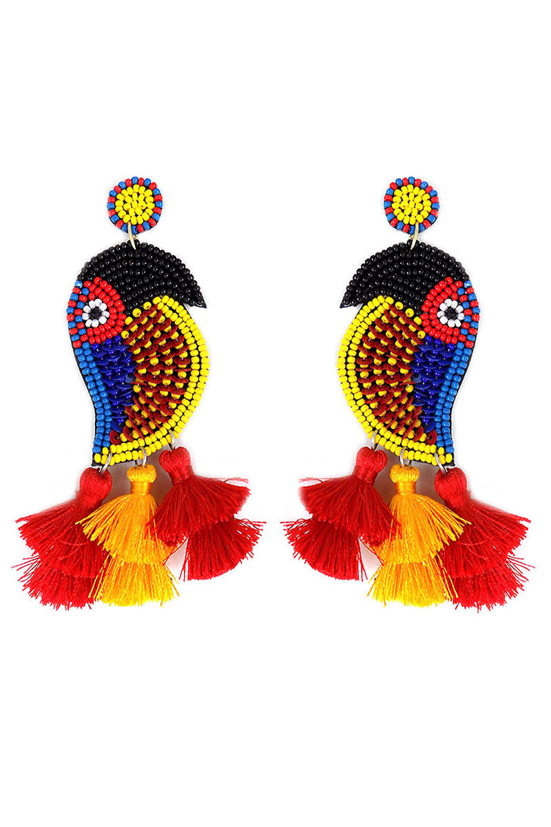 Red Multi-Color Seed Bead Tassel Bird Earrings