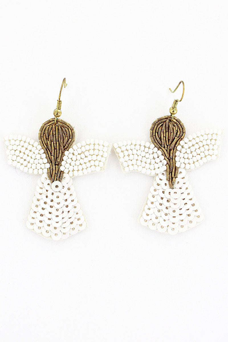 Embellished White and Gold Angel Earrings